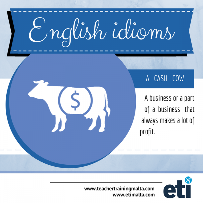 English Idiom. Cash Cow explanation by ETI Malta